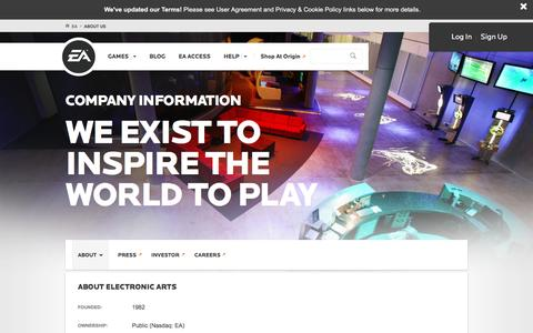 Screenshot of About Page ea.com - About EA l Electronic Arts - captured Nov. 2, 2016