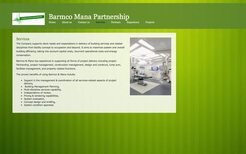 Screenshot of Services Page barmcomana.com - Services - captured Oct. 5, 2014