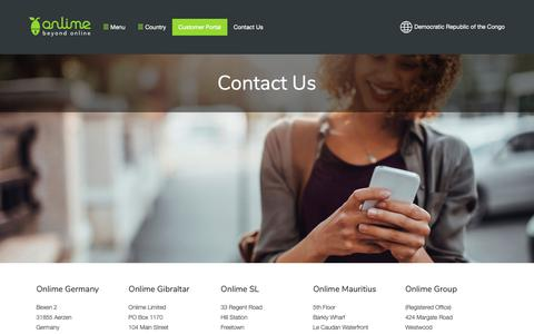 Screenshot of Contact Page onlime.com - Contact Us - Beyond Onlime - captured Oct. 24, 2018