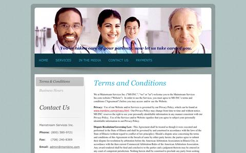 Screenshot of Terms Page msmbinc.com - Terms & Conditions - Mainstream Services Inc. - Your professional medical billing and data entry specialists. - captured Oct. 4, 2014