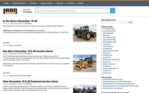 Screenshot of Blog Press Page ironplanet.com - IronPlanet Blog - captured Nov. 23, 2015
