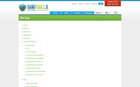 Screenshot of Site Map Page bandpages.ie - Sitemap - captured Oct. 5, 2014