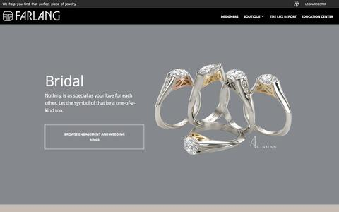Screenshot of Home Page farlang.com - Custom jewelry by award winning designers around the globe - captured Aug. 3, 2015