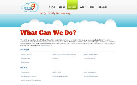 Screenshot of Services Page cloud9webservices.com - Services | Cloud 9 Web Services - captured Sept. 30, 2014