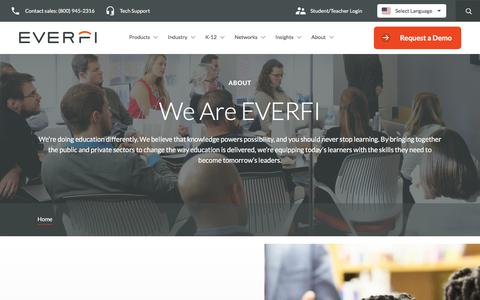 Screenshot of About Page everfi.com - About Us   Education Technology for Everyone   EVERFI - captured July 22, 2019
