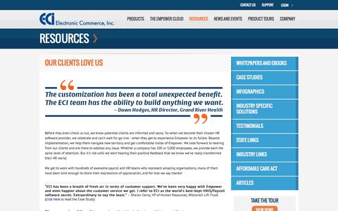 Screenshot of Testimonials Page ecipay.com - ECI Customer Testimonials - Kind Words from Payroll and Human Resource Administrators - captured Sept. 25, 2014