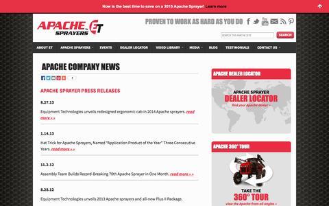 Screenshot of Press Page etsprayers.com - Apache Sprayers Official News - captured Oct. 1, 2014