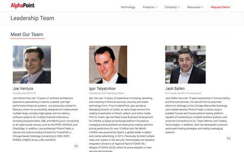 Screenshot of Team Page alphapoint.com - Blockchain Solutions & Digital Asset Exchange Software  |  AlphaPoint - captured Oct. 8, 2017