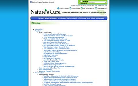 Screenshot of Site Map Page naturescure.com - Site Map for Naturescure.com - captured Oct. 9, 2014