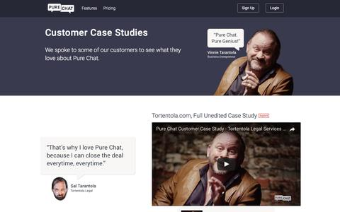 Screenshot of Case Studies Page purechat.com - Pure Chat | Live Chat Customer Case Studies - captured June 6, 2017