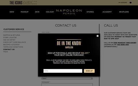Screenshot of Contact Page napoleonperdis.com - Contact Us - captured Oct. 23, 2017