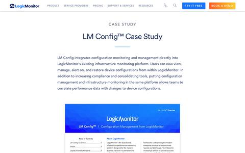 Screenshot of Case Studies Page logicmonitor.com - LM Config™ Case Study   LogicMonitor Resource - captured Dec. 12, 2019