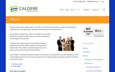 Screenshot of Support Page caldere.com - Services - Support - Caldere Associates - captured Oct. 15, 2016