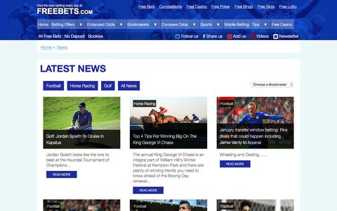 Screenshot of Press Page freebets.com - Betting News | Free Bets Online | Freebets.com - captured Feb. 5, 2016