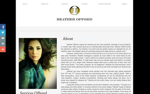Screenshot of About Page heatherofford.com - Designer Bags - Painted Handbag, Painted Purse, Painted Clutch By Heather offord : Other - captured Oct. 2, 2014