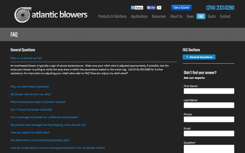Screenshot of FAQ Page atlanticblowers.com - Atlantic Blowers | FAQ - captured Oct. 5, 2014