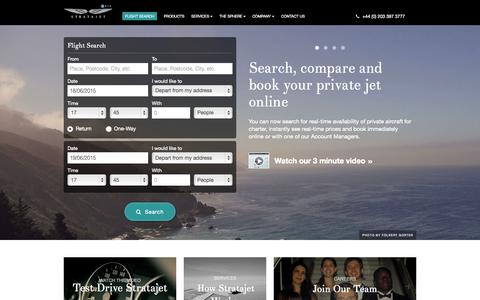 Screenshot of Home Page stratajet.com - Online Private Jet Charter | London | UK | Europe | Stratajet - captured June 17, 2015