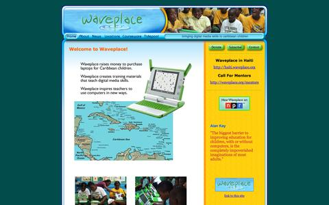 Screenshot of Home Page waveplace.org - Welcome to Waveplace! - captured Oct. 11, 2015