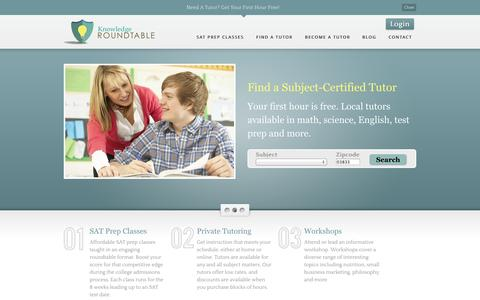 Screenshot of Home Page theknowledgeroundtable.com - Knowledge Roundtable | SAT Prep Classes, Private In-Home Tutoring - captured Sept. 30, 2014