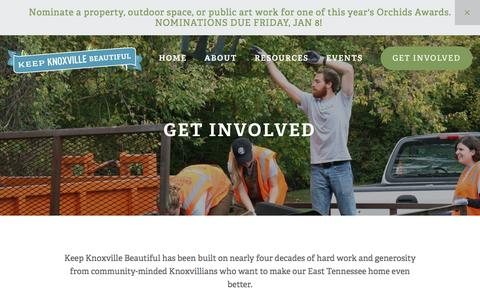Screenshot of Signup Page keepknoxvillebeautiful.org - Get Involved — Keep Knoxville Beautiful - captured Jan. 9, 2016