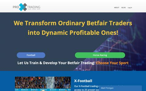 Screenshot of Home Page proxtrading.com - Pro X Trading: Learn Betfair Trading Strategies & Techniques - captured Sept. 29, 2018