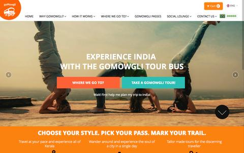 Screenshot of Home Page gomowgli.in - Experience India with the goMowgli Tour Bus - City Tours, Hop on Hop off Tours - captured Sept. 16, 2015
