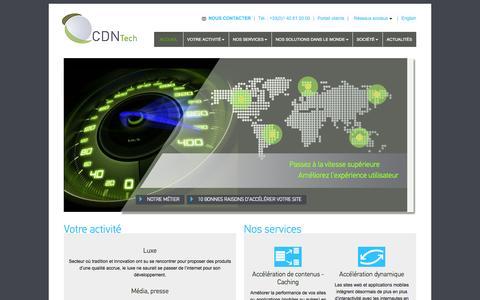 Screenshot of Home Page cdn-tech.com - CDN Tech : accélération contenu web/mobile, caching, streaming vidéo, multi-cdn - captured Oct. 1, 2014