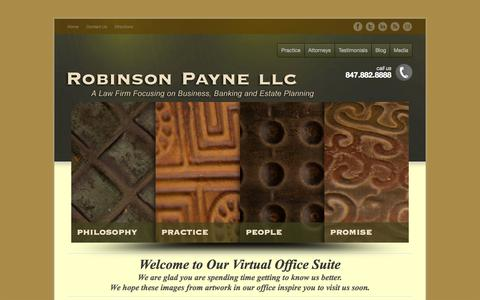 Screenshot of Home Page robinsonpayne.com - Robinson Payne: Chicago's Business, Banking, Estate Planning Law Firm - captured Oct. 1, 2014