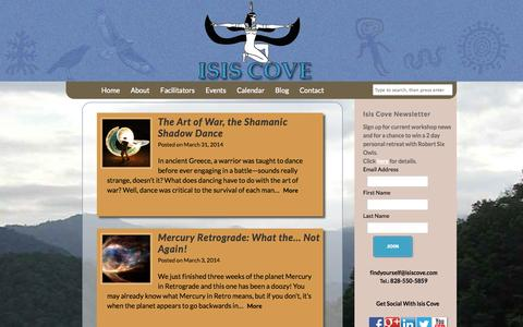 Screenshot of Blog isiscove.com - A sacred retreat for seekers and students   Isis Cove Retreat Center - captured Oct. 6, 2014