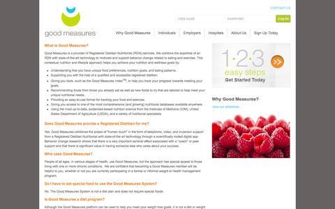 Screenshot of FAQ Page goodmeasures.com - Good Measures - captured Oct. 1, 2014