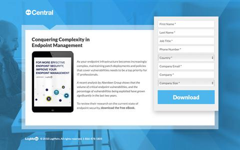 Screenshot of Landing Page logmein.com - LogMeIn Central | Conquering Complexity in Endpoint Management - captured Dec. 29, 2018