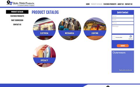 Screenshot of Products Page qual-tran.com - Train parts and products for the transit industry - captured Sept. 28, 2018