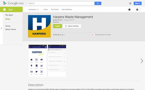 Screenshot of Android App Page google.com - Harpers Waste Management - Android Apps on Google Play - captured Oct. 22, 2014