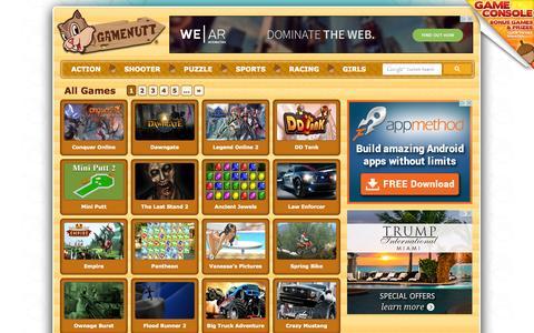 Screenshot of Home Page gamenutt.com - GameNutt | Unlimited Play, Hundreds of Free Games - captured Sept. 19, 2014