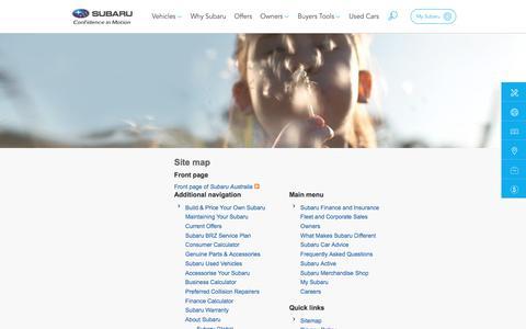 Screenshot of Site Map Page subaru.com.au - Sitemap | Subaru Australia - captured Aug. 10, 2017