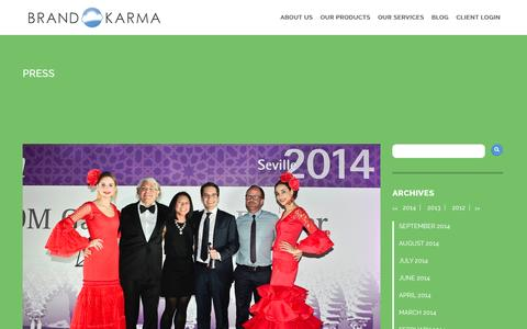 Screenshot of Press Page brand-karma.com - Press Archives | - captured Sept. 22, 2014