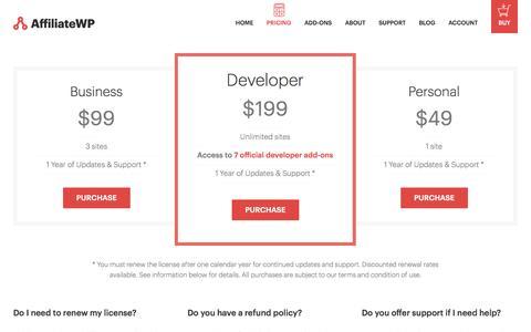 Screenshot of Pricing Page affiliatewp.com - AffiliateWP Pricing - captured Nov. 6, 2014