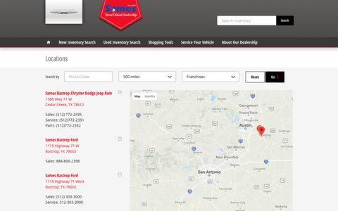 Screenshot of Locations Page samesauto.com - Sames Auto Group | New Kia, Dodge, Jeep, Collision, Mazda, Ford, Chrysler, Honda, Ram, Nissan dealership in Laredo, TX 78041 - captured Oct. 2, 2018