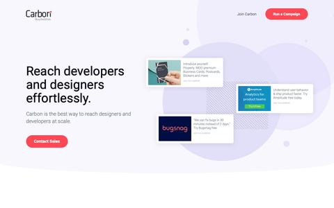 Screenshot of Home Page carbonads.net - Reach Designers and Developers at Scale   Carbon Ads - captured Oct. 13, 2018