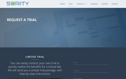 Screenshot of Trial Page surity.net - Surity - Surity Healthcare Solutions - captured Feb. 16, 2016