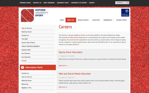 Screenshot of Jobs Page ox.ac.uk - Careers | Oxford University Sport - captured Oct. 26, 2014