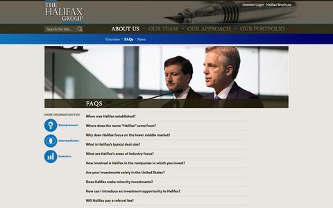 Screenshot of FAQ Page thehalifaxgroup.com - FAQs - The Halifax Group - captured Feb. 15, 2016