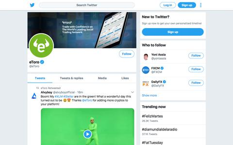 Screenshot of Twitter Page twitter.com - Tweets by eToro (@eToro) – Twitter - captured Feb. 13, 2018