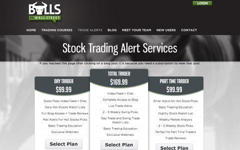 Screenshot of Pricing Page bullsonwallstreet.com - Stock Trading Alert Services | Bulls on Wallstreet - captured Sept. 19, 2014