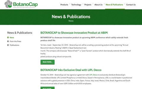 Screenshot of Press Page botanocap.com - News - Botanocap-Green Microencapsulation Soltutions - captured Oct. 28, 2014