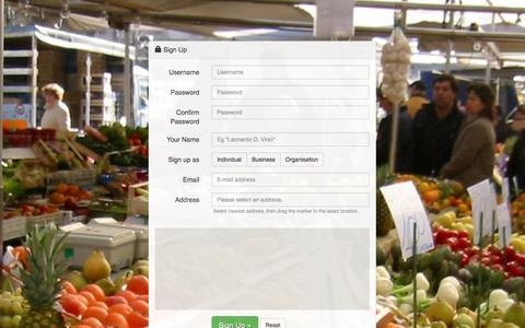 Screenshot of Signup Page foodtrade.com - FoodTrade - captured Sept. 30, 2014