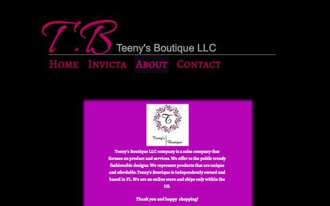 Screenshot of About Page teenysboutique.com - About - Teeny's Boutique LLC - captured Oct. 7, 2014