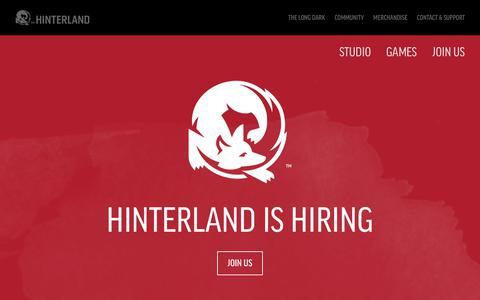 Screenshot of Home Page hinterlandgames.com - Hinterland Games - captured Sept. 22, 2018