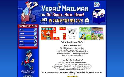 Screenshot of FAQ Page viralmailman.com - Viral Mailman - captured Nov. 4, 2014