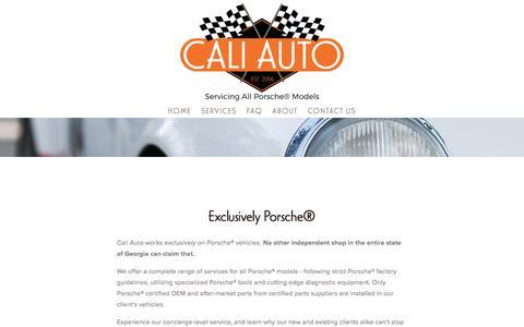 Screenshot of Services Page atlantaporscherepaircaliauto.com - Services —     Cali Auto: Exclusive Porsche Mechanic® - captured Oct. 16, 2016
